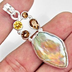925 silver 24.35cts natural blister pearl smoky topaz citrine pendant d37093