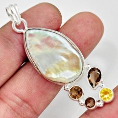 25.57cts natural blister pearl smoky topaz citrine 925 silver pendant d37096