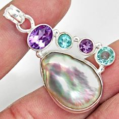 925 sterling silver 24.38cts natural blister pearl amethyst topaz pendant d37099
