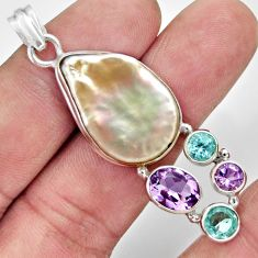 20.88cts natural blister pearl amethyst topaz 925 sterling silver pendant d37101