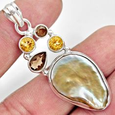 Clearance Sale- 22.59cts natural blister pearl smoky topaz 925 sterling silver pendant d37102