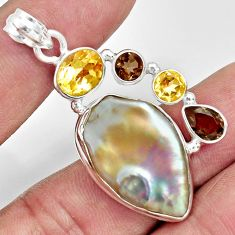 925 sterling silver 24.38cts natural blister pearl smoky topaz pendant d37104