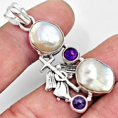 18.17cts natural blister pearl fancy amethyst 925 sterling silver pendant d37109