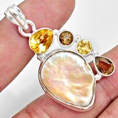 Clearance Sale- 24.00cts natural blister pearl smoky topaz citrine 925 silver pendant d37111
