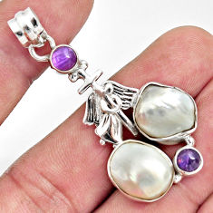 18.63cts natural blister pearl amethyst 925 sterling silver pendant d37112