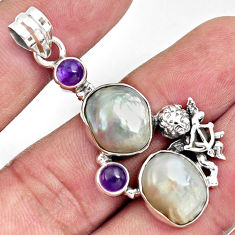 925 sterling silver 18.63cts natural blister pearl amethyst angel pendant d37114