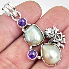 Clearance Sale- 17.67cts natural blister pearl purple amethyst 925 silver angel pendant d37116