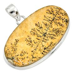 Clearance Sale- 925 silver 30.49cts natural germany psilomelane dendrite oval pendant d37147