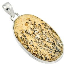 Clearance Sale- 20.51cts natural germany psilomelane dendrite oval 925 silver pendant d37148