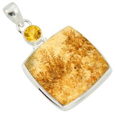 925 silver 24.38cts natural germany psilomelane dendrite citrine pendant d37153