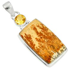 Clearance Sale- 925 silver 19.68cts natural germany psilomelane dendrite citrine pendant d37160