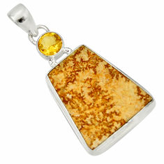 Clearance Sale- 15.65cts natural multi color germany psilomelane dendrite silver pendant d37161