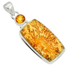 Clearance Sale- 18.68cts natural germany psilomelane dendrite citrine 925 silver pendant d37168