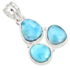 925 sterling silver 15.55cts natural blue larimar fancy pendant jewelry d37174