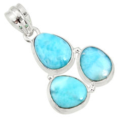 Clearance Sale- 925 sterling silver 16.03cts natural blue larimar fancy pendant jewelry d37176