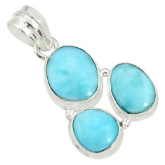 Clearance Sale- 15.55cts natural blue larimar 925 sterling silver pendant jewelry d37177