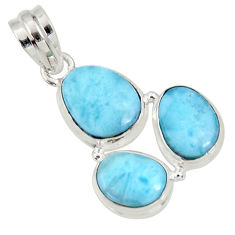 Clearance Sale- 15.55cts natural blue larimar 925 sterling silver pendant jewelry d37178