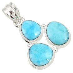 Clearance Sale- 925 sterling silver 15.58cts natural blue larimar fancy pendant jewelry d37179