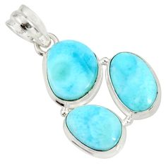 16.87cts natural blue larimar 925 sterling silver pendant jewelry d37180