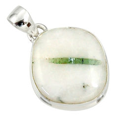 Clearance Sale- 16.18cts natural green tourmaline in quartz 925 sterling silver pendant d37227