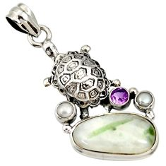 16.92cts natural green tourmaline in quartz 925 silver turtle pendant d37246