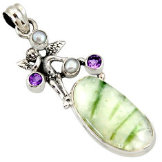 Clearance Sale- 20.35cts natural tourmaline in quartz silver angel wings fairy pendant d37247
