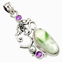 Clearance Sale- 18.15cts natural green tourmaline in quartz amethyst 925 silver pendant d37249