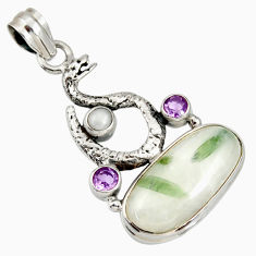 Clearance Sale- 19.00cts natural tourmaline in quartz 925 silver anaconda snake pendant d37250