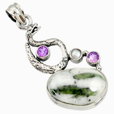 Clearance Sale- 925 silver 20.86cts natural tourmaline in quartz anaconda snake pendant d37251