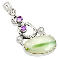 Clearance Sale- 22.75cts natural tourmaline in quartz 925 silver anaconda snake pendant d37253