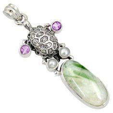 21.80cts natural green tourmaline in quartz 925 silver turtle pendant d37257