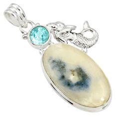 Clearance Sale- 925 silver 27.70cts natural blue dumortierite topaz fairy mermaid pendant d37274
