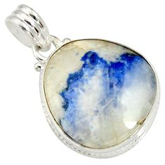 Clearance Sale- 16.18cts natural blue dumortierite 925 sterling silver pendant jewelry d37279