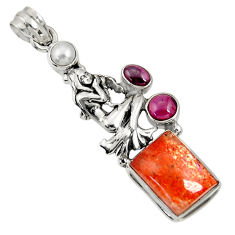 Clearance Sale- 11.52cts natural sunstone (hematite feldspar) 925 silver angel pendant d37330