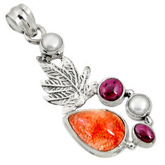 Clearance Sale- Natural sunstone (hematite feldspar) 925 silver deltoid leaf pendant d37333