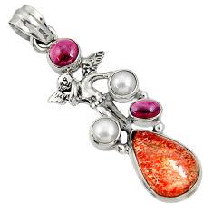 Clearance Sale- Natural sunstone (hematite feldspar) 925 silver angel wings fairy pendant d37335