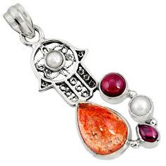 Clearance Sale- 925 silver natural sunstone (hematite feldspar) hand of god hamsa pendant d37337