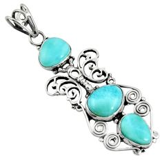 Clearance Sale- 925 sterling silver 11.27cts natural blue larimar butterfly pendant d37376