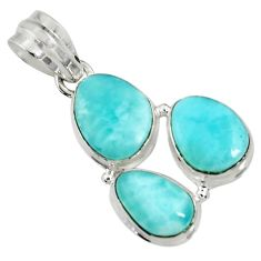Clearance Sale- 925 sterling silver 16.20cts natural blue larimar fancy pendant jewelry d37377