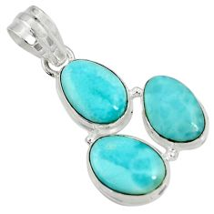 Clearance Sale- 16.20cts natural blue larimar 925 sterling silver pendant jewelry d37378