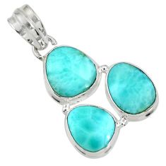 Clearance Sale- 17.22cts natural blue larimar 925 sterling silver pendant jewelry d37379