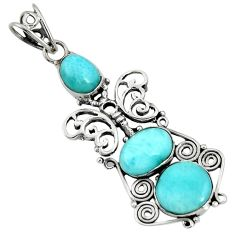 Clearance Sale- 925 sterling silver 10.84cts natural blue larimar butterfly pendant d37380