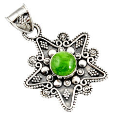 Clearance Sale- 925 sterling silver 3.15cts natural green chrome diopside pendant jewelry d37410