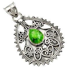 Clearance Sale- 4.34cts natural green chrome diopside 925 sterling silver pendant jewelry d37411