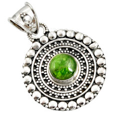 Clearance Sale- 3.53cts natural green chrome diopside 925 sterling silver pendant jewelry d37413