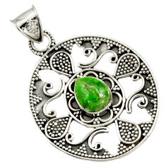 Clearance Sale- 925 sterling silver 4.61cts natural green chrome diopside pendant jewelry d37414