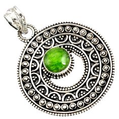 Clearance Sale- 3.30cts natural green chrome diopside 925 sterling silver pendant jewelry d37416