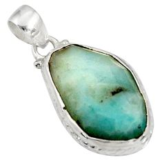 Clearance Sale- 17.57cts natural green boulder amazonite 925 sterling silver pendant d37422