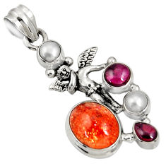 Clearance Sale- Natural sunstone (hematite feldspar) 925 silver angel wings fairy pendant d37425