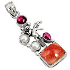 Clearance Sale- 925 silver 10.89cts natural sunstone (hematite feldspar) angel pendant d37426